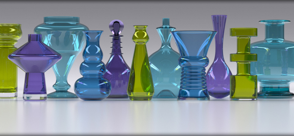 Glass vases product visualisation